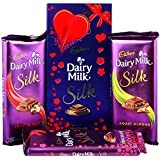 Cadbury Dairy Milk Silk Fruit & Nut, Roasted Almond, Plain Silk & Special Silk Valentine Pack Combo Chocolates...