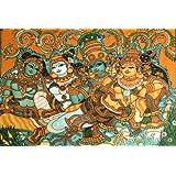 "Krishna Wooing Radha-Kerala Mural Art(Unframed Canvas Prints)- 48""X32"""