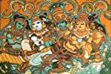 Krishna Wooing Radha-Kerala Mural Art(Unframed Canvas Prints)- 60 CM x 40 CM