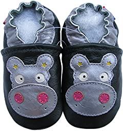 Carozoo baby boy soft sole leather infant toddler kids shoes Hippo Dark Green 6-7y