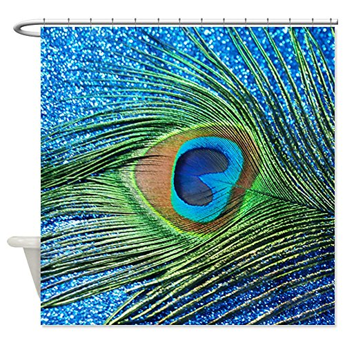 CafePress Glittery Blue Peacock Shower Curtain