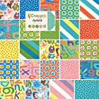 Moda ABC MENAGERIE Precut 5-inch Charm Pack Cotton Fabric Quilting Squares Assortment Abi Hall 39520PP Baby Children Animals