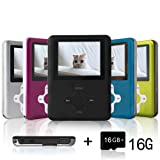 Lecmal Portable MP3/MP4 Player with 16GB Micro SD Card, Economic Multifunctional Music Player with Mini USB Port, MP3 Voice Recorder, Media Player for Kids-16GB-Black