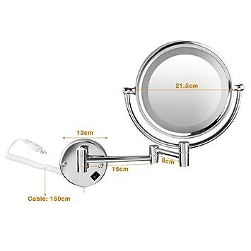 floureon 8 5 pouces led miroir miroir mural grossissant x10 lumineux extension extension. Black Bedroom Furniture Sets. Home Design Ideas