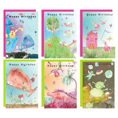 Happy Birthday Children's Greeting Cards - Mixed Pack - Pack of 6 Cards with Envelopes by Real & Exciting Designs