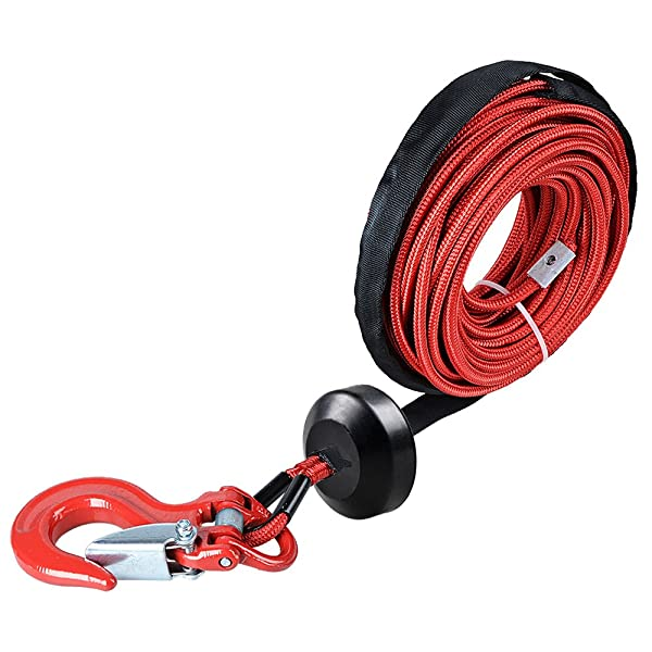 Astra Depot 50 x 1//4 Black Rock Protection and All Heat Guard Synthetic Winch Rope Cable 7000LBS w//Rubber Stopper 6 Black Hawse Fairlead for Car ATV UTV Ramsey KFI