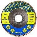 "Sundisc 11007 Type 29 Standard Density Abrasive Super Flap Disc, X Weight Poly/Cotton Blend, Zirconia, 4-1/2"" Diameter, 60 Grit, 7/8"" Arbor (Pack of 5)"