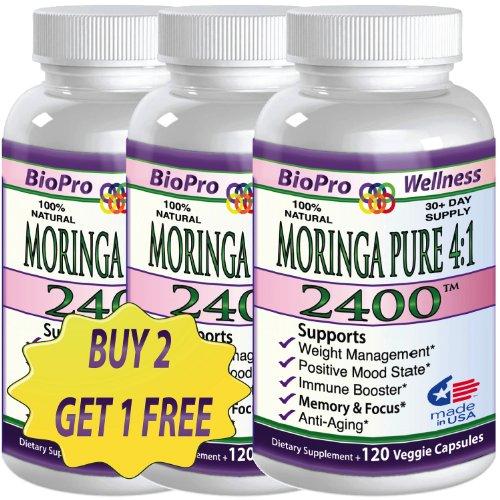 2+1 Free Pure Moringa Oleifera, 2400Mg Daily, #1 Focus Brain Mood Memory Superfood Plus Immune Defense Booster - Healthy Brain Anti Aging Whole Super Foods Diet Supplements For Seniors, Adults, Teens & Children Organic Tree Leaf Powder Pills, 120 Vegetari