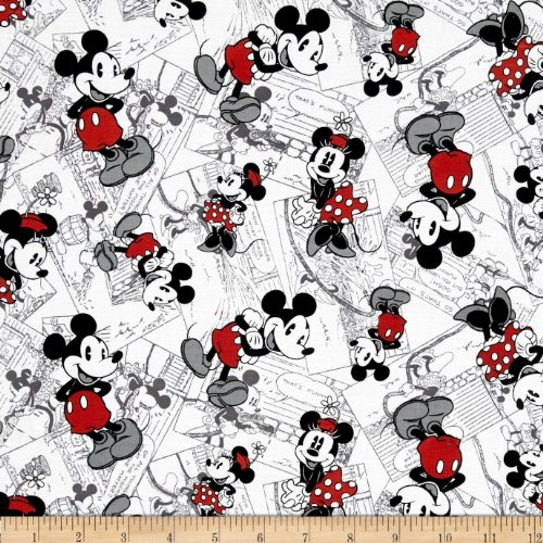 Disney Vintage Mickey Comic Strip Character Toss Black/Red Fabric