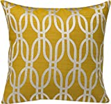 Urban Loft by Westex Oval Geo Feather Filled Cushion, 20 by 20 , Yellow