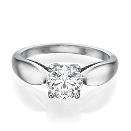 Solitaire Swarovski Engagement Ring 2.00CT Round Cut Main Stone D/VVS1 14ct White Gold