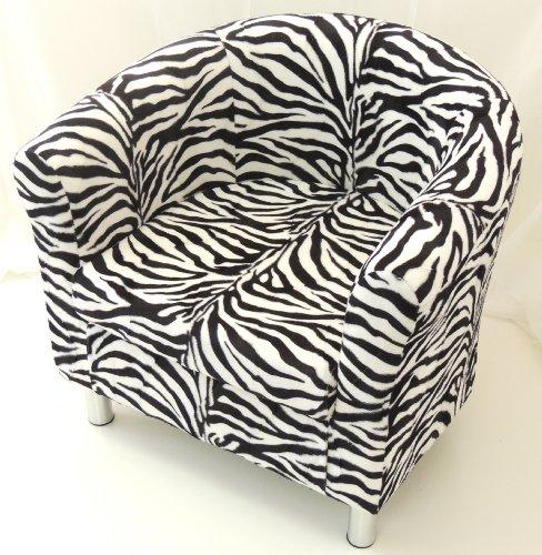 BLACK & WHITE ZEBRA ANIMAL PRINT TUB CHAIR WITH CHROME LEGS