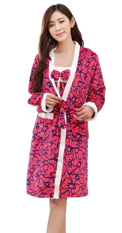 AIVTALK Damen Mädchen Nachtwäsche Set Nachthemd Morgenmantel 2 in 1 Superweich Flanell – Gepunkt Grün Rosa günstig bestellen