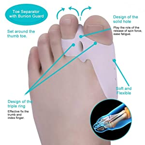 7Pcs Bunion Corrector Adjustable Splint Night Time Soft Gel for Bunion Relief, Bunion Corrector and Bunion Relief Protector Brace Kit for Big Toes, Bunion Pads, Toe Straightener, Toe Separators (Color: 7pcs White)