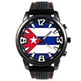 Timest - Cuba Country Flag - Mens Black Jelly Silicone Wrist Watch Round Analog Quartz SF057 (Color: multicolored)