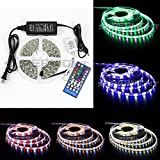 SINOLLC Flexible RGBW LED Strip Lights 5M 5050 300 LEDs RGB Daylight White IP65 Waterproof Garden Outdoor Strip Lights Full Kit RGB+White Color Changing LED Strip Light with 40-Key RGBW LED Controller+DC12V Power Adapter -White lack Tape Version