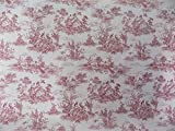 Vintage French Lovers Scenes Toile De Jouy Red Beige Cotton High Quality Fabric Material A4 Sample