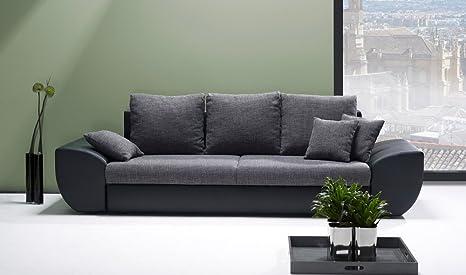 Sofa, Big Sofa, Schlafcouch, Schlaffunktion, Bettkasten, schwarz/grau, Maße: B/H/T 272/90/96 cm