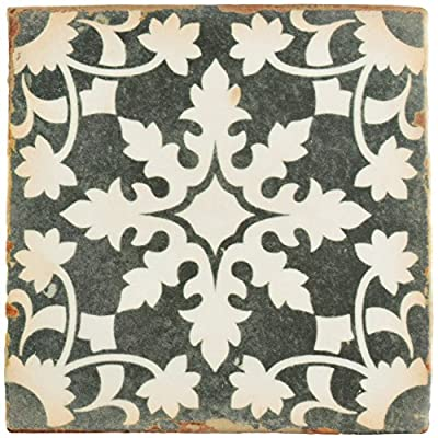"SomerTile FPEARCZH Modele Ceramic Floor and Wall Tile, 4.875"" x 4.875"", Grey/Cream/White/Brown"