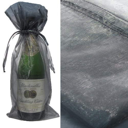 100X Silver Bottle & Wine Organza Favor Gift Bags 6.5X15 Inch ($0.94 Each) front-160839