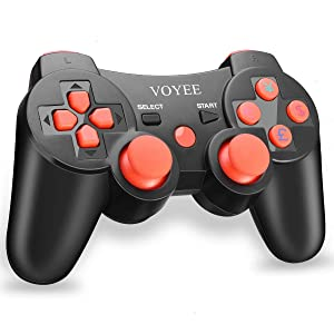VOYEE PS3 Controller Wireless - Rechargable Remote Control/Gamepad with Charging Cable for Sony Playstation 3 (Black & Red) (Color: Black & Red)
