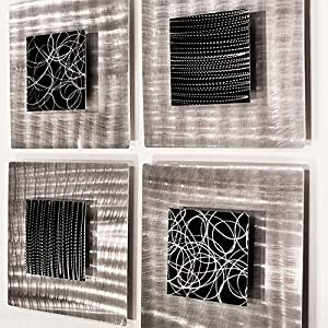 Black & Silver Metal Contemporary Wall Decor with Abstract, Modern Details Set of 4 Wall Sculptures - Freestyle by Jon Allen