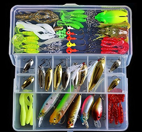 Ceslysun fishing lures kit1 set 108pcs fishing lures hard for Hard and soft fishing