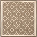 "Safavieh Courtyard Collection CY6918-242 Brown and Bone Square Area Rug, 7 feet 10 inches by 7 feet 10 inches Square (7'10"" x 7'10"" Square)"