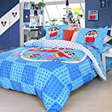 Luk Oil Japanese Anime Crayon Cartoon Blue Bedding Set Cute Crayon Boys and Girls Soft Duvet Cover Colorful Students Fashion Fillet Bed Sheets Queen Size 4Pcs