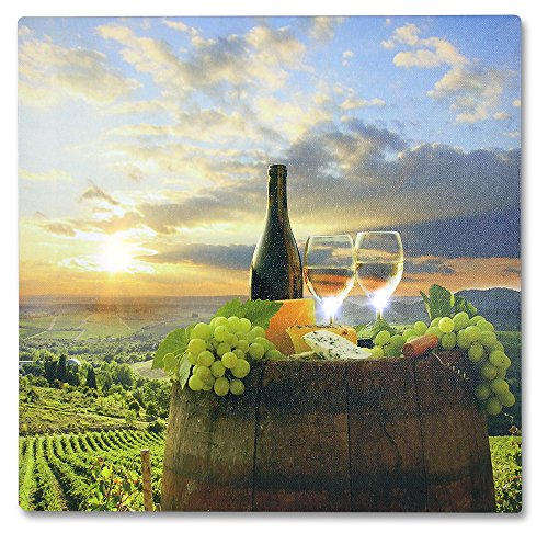 Tuscan Wall Art - LED Canvas Print with a Vineyard Scene with Wine Bottle and Glasses - Wine Wall Art - Wine Decor For Kitchen (Wine Country Art compare prices)