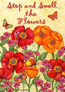 """Stop And Smell Orange And Red Flowers 28""""X40"""" By Custom Decor"""