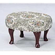 Upholstered Cherry Wood Foot Stool Wooden Footstool