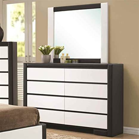 8 Drawer Dresser in Black and White Finish