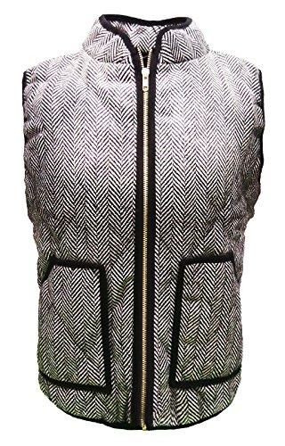 W&C Women's Zipper Closure Standing Collar Slant Pockets Quilted Padded Vest (Tag M, Grey) (Secret De Unit compare prices)