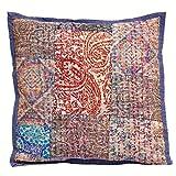 Eminent Craft Navona Decorative Throw Pillow / Cushion Cover Blue 16' X 16' Cotton Kantha Handmade in Jaipur India