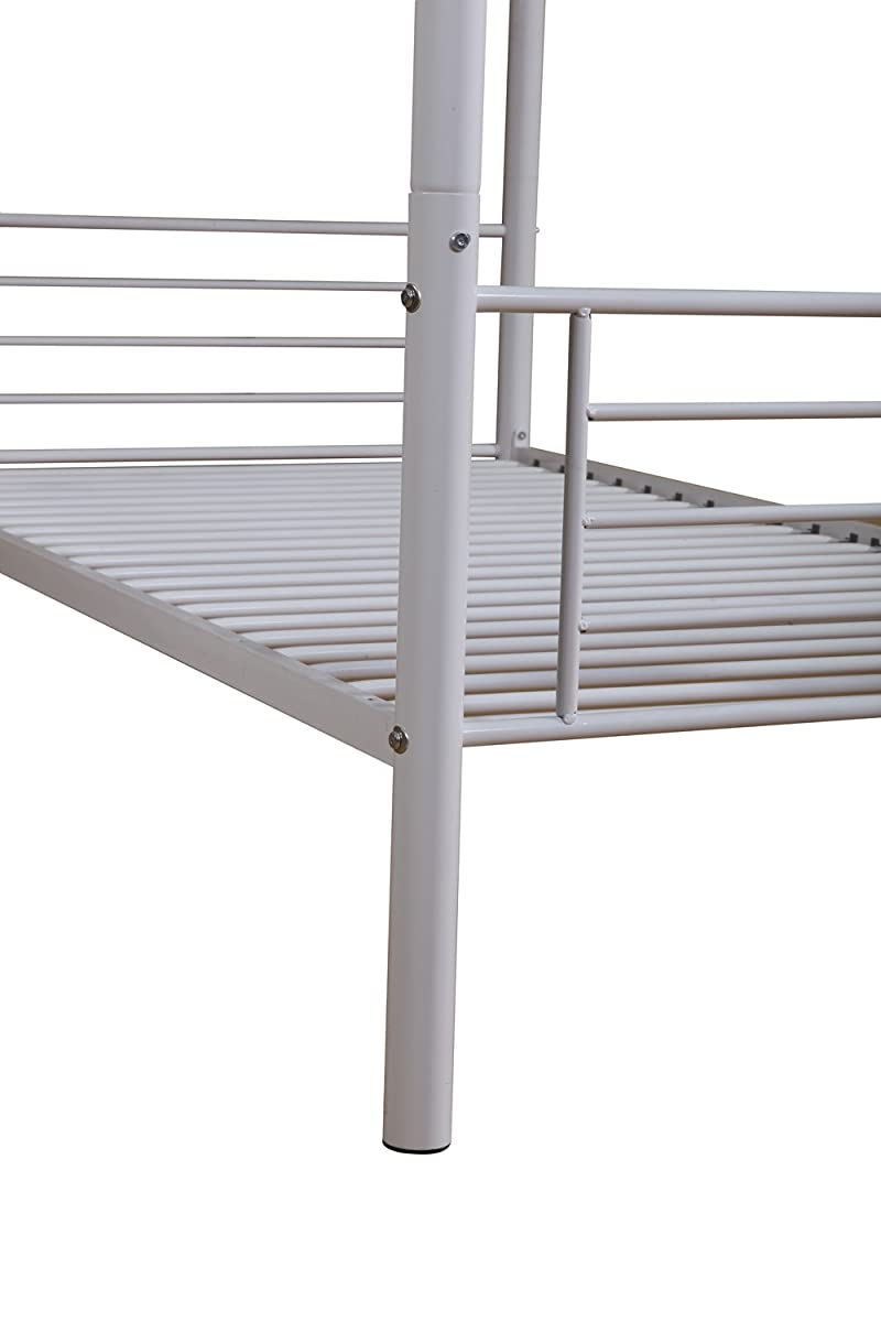 Merax Bunk Bed Twin-Over-Twin Metal Bunk Bed Bedroom Furniture in White