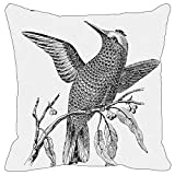 Leaf Designs - Black And White Bird On A Branch Cushion Cover