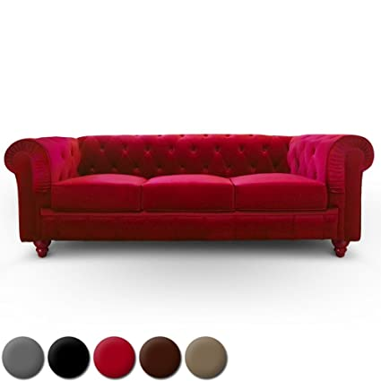 Canape 3 places Chesterfield Velours Rouge