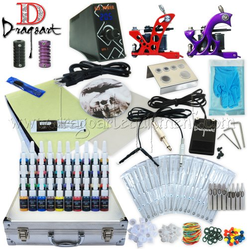 Dragoart Complete Tattoo Kit 2 Machine Set Equipment Power Supply 40 Color Inks Tka-6-2