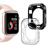 Goton Compatible iWatch Apple Watch Case 42mm Series 3 2 1, (2 Packs) Soft TPU Shockproof Case Cover Bumper Protector (Black and Clear, 42mm) (Color: 42mm Black + Clear, Tamaño: 42mm (Series 3 2 1))