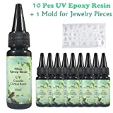 10x30ML Crystal Clear UV Epoxy Resin High Transparency Small Bottle Easy Handle UV Glue Resin Crafts Coating Jewelry Making + 1 Silicone Mold 20+ Shapes for DIY Pendants Earrings Necklaces Bracelets (Color: 10 small bottles + 1 mold)