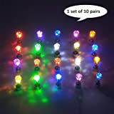 esonstyle 10 Pair LED Earrings Glowing Light up Ear Drop Pendant Stud Stainless Multi-color (Color: 10 pairs)
