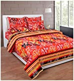 Soni Traders 144 TC Cotton Double Bedsheet - Floral, Red