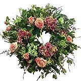 "28"" Unique Combination Natural/Silk Manzanita Branch Wreath, Hydrangea, English Garden Rose"