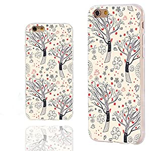 iPhone 6s Case,iPhone 6 Case,Case for iPhone 6 6s 4.7 Inch,ChiChiC [Cute Series] Full Protective Slim Flexible Durable Soft TPU Cases,cute hand drawn black trees with red birds on yellow background