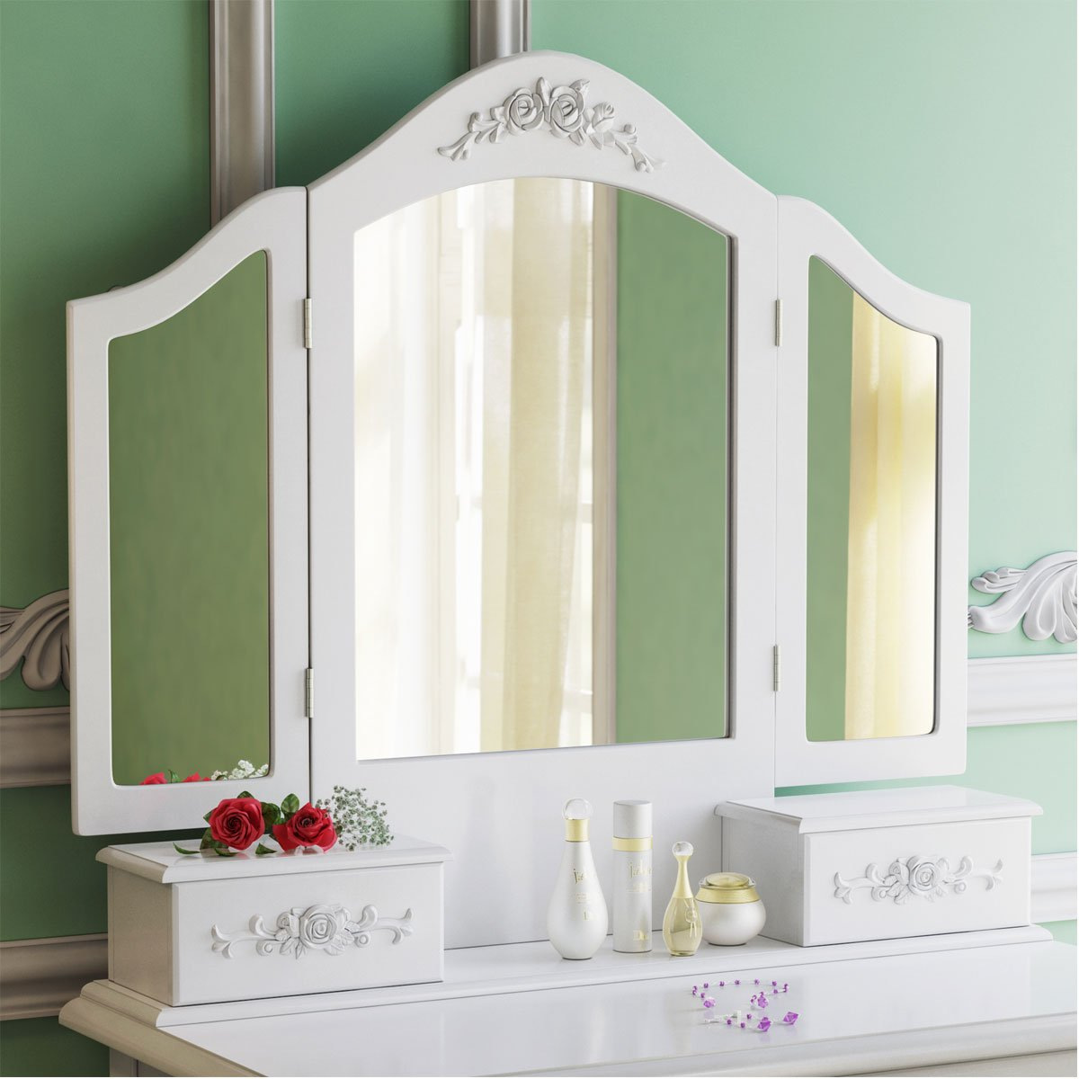 Tribesigns Wood Makeup Vanity Table Set with 3 Mirror and Stool Bedroom Dressing Table Dresser Desk, White 2