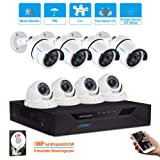 LONNKY8CH Full HD 1080P Home Security Camera System, 5-in-1 Surveillance DVR with 2TB Hard Drive and (8) 2.0MP Waterproof Outdoor Indoor Camera,Motion Alert, Smartphone, PC Easy Remote Access (Color: 8CH 1080P DVR 4*BULLET 4*DOME White+2TB, Tamaño: 8CH+8Camera+2TB)