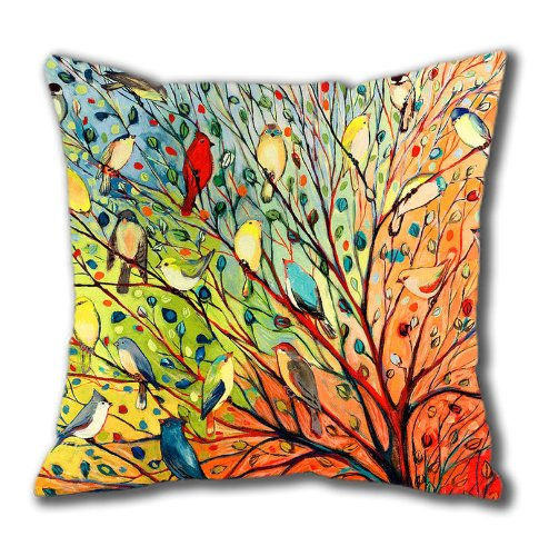 New Illustration Painting 16 Birds Standard Size Design Square Pillowcase/Cotton Pillowcase with Invisible Zipper in 40*40CM 16*16(527)-527157