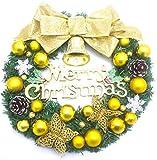 直径35cm クリスマス リース 松ぼっくり Merry Christmas 玄関 飾り オーナメント ゴールド リボン ゴールド ボール