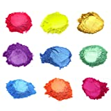 Slime Dye Powder Natural Mica Powder Pigment Set for Epoxy UV Resin, Bath Bomb dye, Soap dye, Candle Making, 9 Colors (Color: 9 colors #2)
